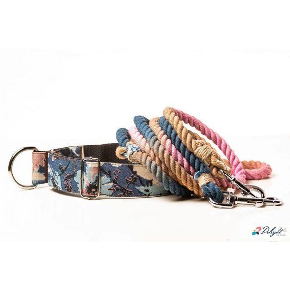 Deligh's Dog Design kék-rózsaszín virágos nyakörvek