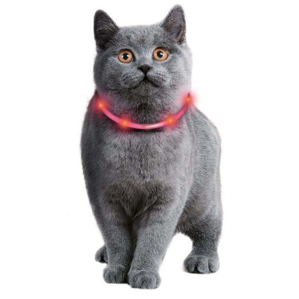 Ledes szilikon világító nyakkarika, USB töltővel, méretre vágható cicáknak és kistestű kutyáknak 35cm (piros színű)