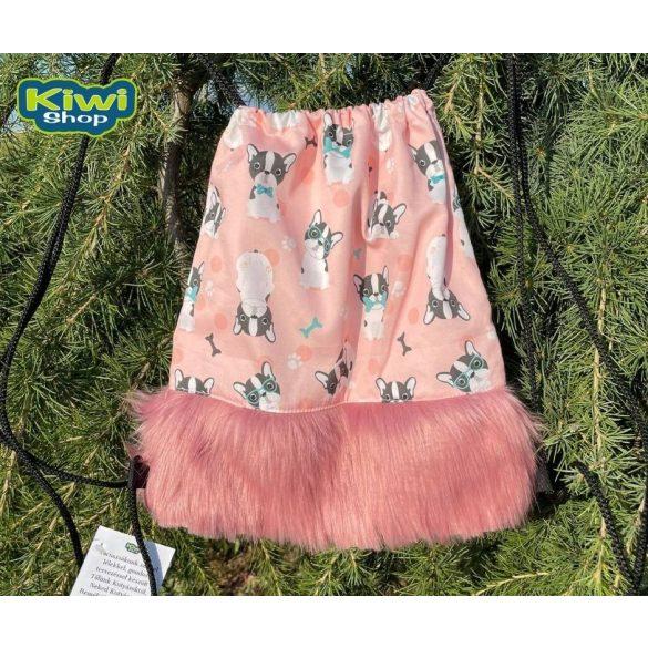 Kiwi Pet's tornazsák rózsaszín bulldogos műszőrrel a legvagányabb csajoknak