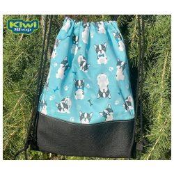 Kiwi Pet's tornazsák kék bulldogos fekete műbőrrel