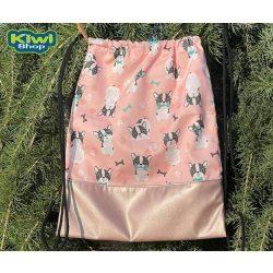 Kiwi Pet's tornazsák rózsaszín bulldoggal púderrózsaszín műbőrrel