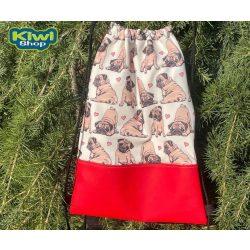 Kiwi Pet's tornazsák mopszos piros műbőrrel