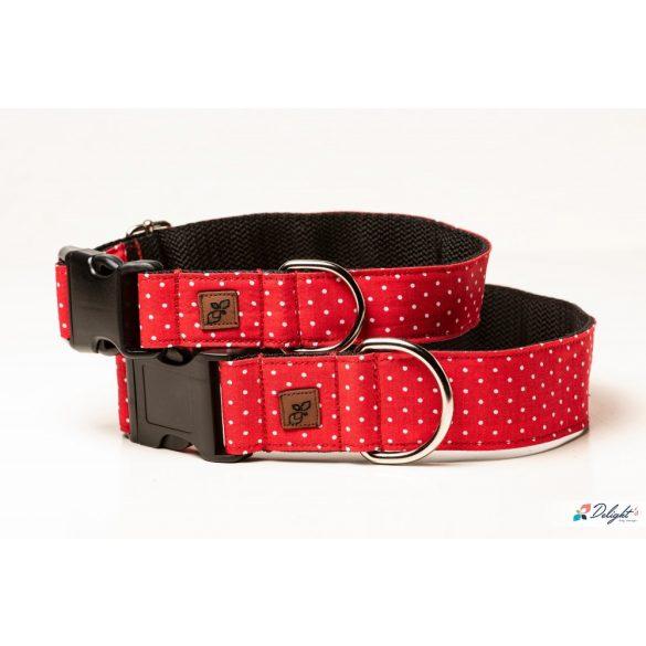 Delight's Dog Design piros pöttyös nyakörvek