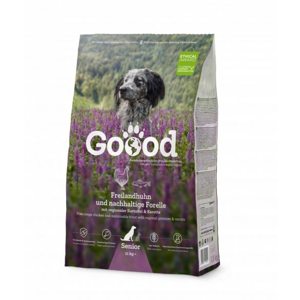 Goood szárazeledel senior (idős kutyáknak) - szabadon tartott bárány és fenntartható pisztráng 3 féle kiszerelésben AKCIÓ! AJÁNDÉK JUTALOMFALAT 08.05-ig!